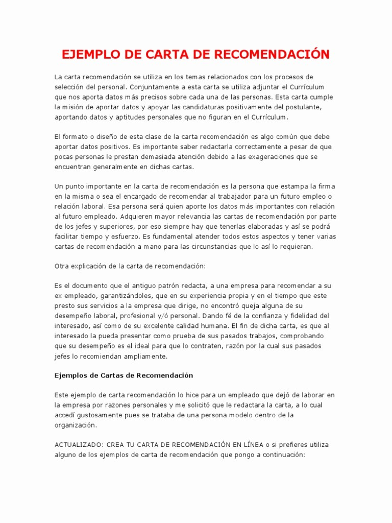 MODELO DE CARTA DE RE ENDACION