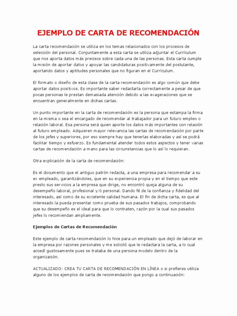 Ejemplos De Carta De Recomendacion Inspirational Modelo De Carta De Re EndaciÓn