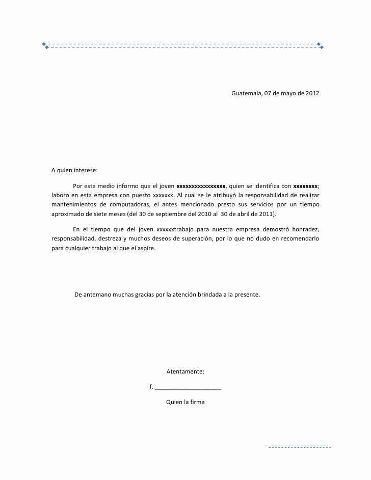 Ejemplos De Carta De Referencia Awesome Carta De Re Endacion Laboral