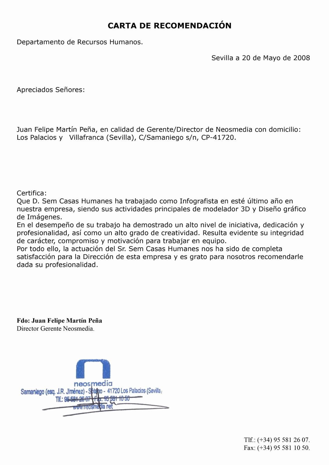 Ejemplos De Carta De Referencia Best Of Ejemplo Modelo formato Carta De Referencia Personal