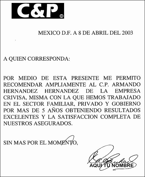Ejemplos De Carta De Referencia New Ejemplo De Modelo De Carta De Re Endación Familiar