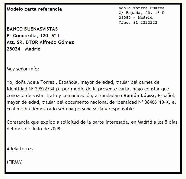 Ejemplos De Carta De Referencia New Modelo De Carta De Referencia