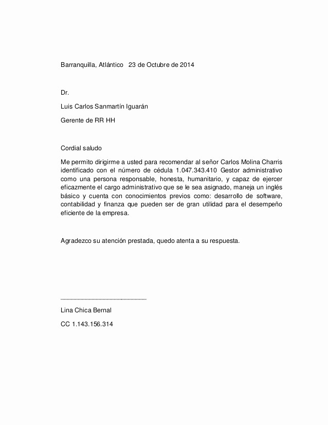 Ejemplos De Carta De Referencia Unique Cartas De Re Endacion Personal Ejemplo