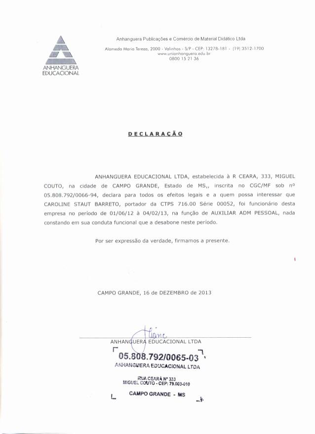 Ejemplos De Cartas De Referencia Beautiful 2014 Carta De Referencia Anhanguera Br