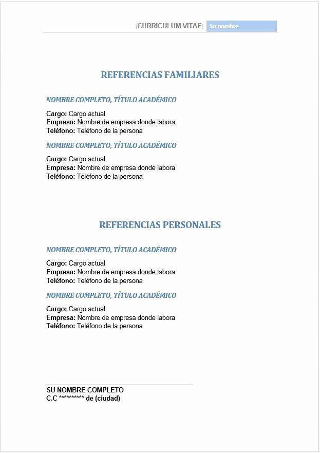Ejemplos De Cartas De Referencia Beautiful Referencias Personales Y Familiares En Hoja De Vida