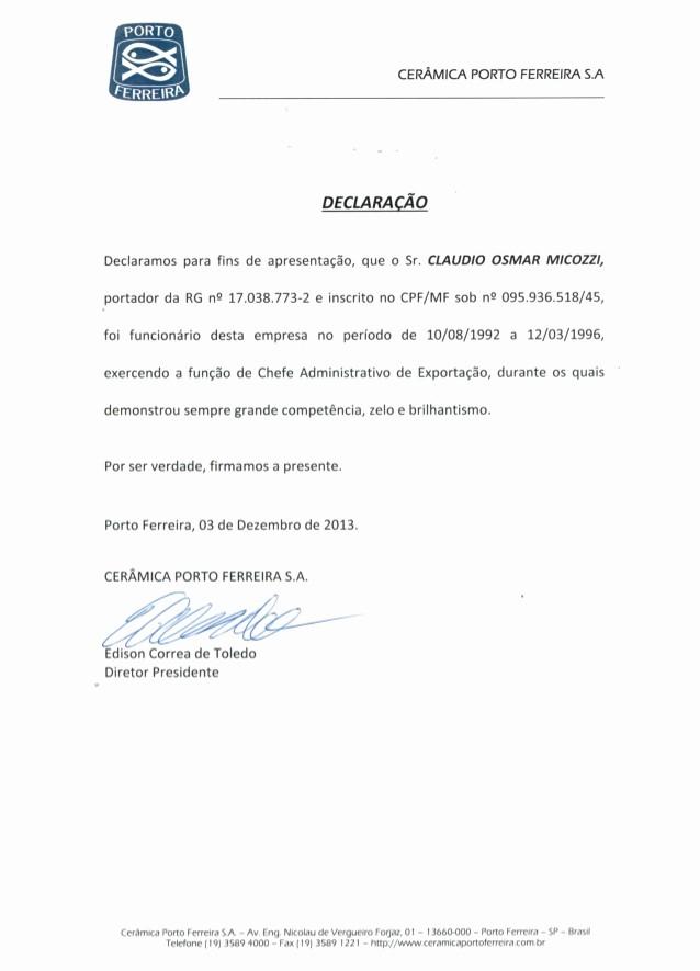 Ejemplos De Cartas De Referencia Fresh Carta De ReferÊncia Cermica Porto Ferreira