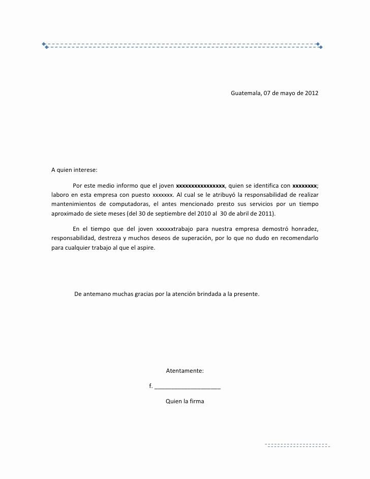 Ejemplos De Cartas De Referencia New Carta De Re Endacion Laboral