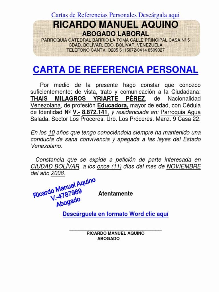 Ejemplos De Cartas De Referencia New formato Modelo Ejemplo Carta De Referencia Personal