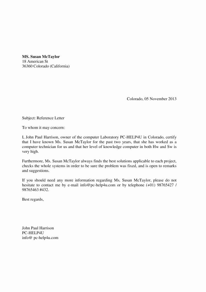 Ejemplos De Cartas De Referencia Unique La Carta De Re Endación En Inglés Ejemplos De