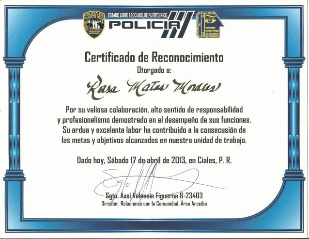 Ejemplos De Certificados De Reconocimiento Lovely Certificado De Reconocimiento Policia Pr