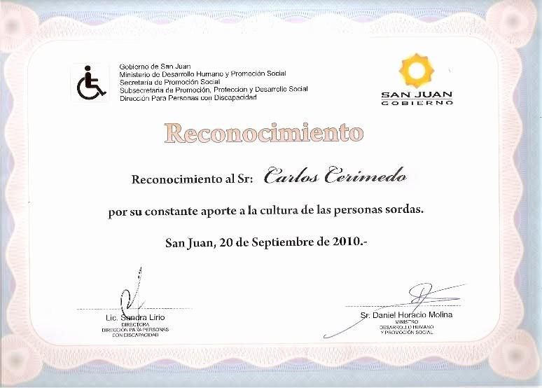 Ejemplos De Certificados De Reconocimiento Luxury Platea San Juan Reconocimiento A Carlos Cerimedo