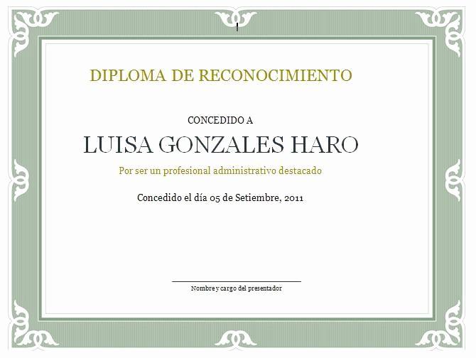 Ejemplos De Certificados De Reconocimiento Unique formato De Diploma De Reconocimiento
