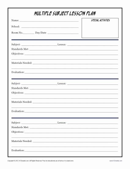 Elementary Lesson Plan Template Word Best Of Daily Multi Subject Lesson Plan Template Elementary