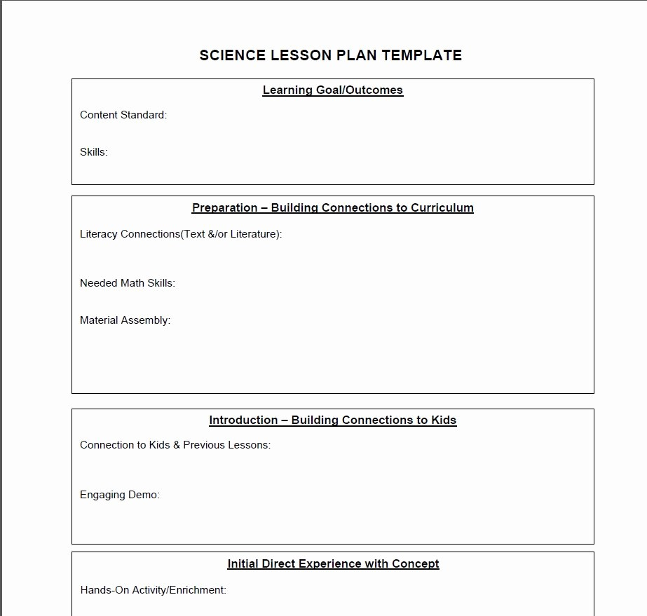 Elementary Lesson Plan Template Word Best Of Middle School Science Lesson Plan Template Beautiful