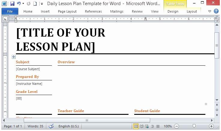 Elementary Lesson Plan Template Word Elegant Best S Of Lesson Plan Template Word Daily Lesson