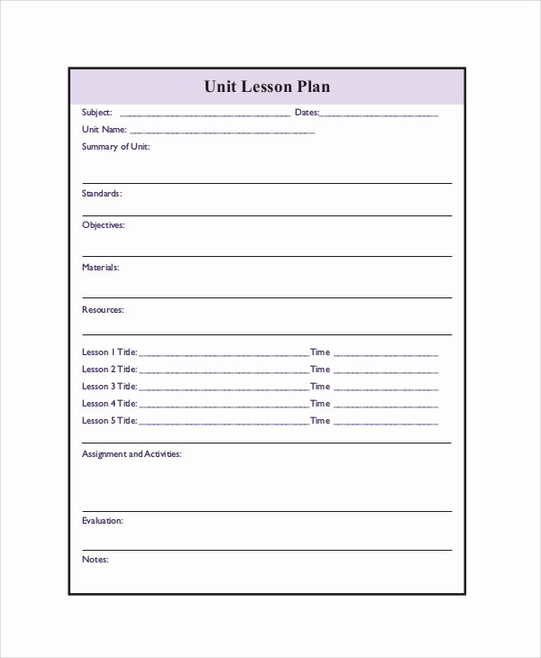 Elementary Lesson Plan Template Word Elegant Printable Lesson Plan 7 Free Word Pdf Documents