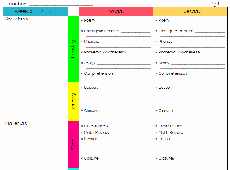 Elementary Lesson Plan Template Word Inspirational Lesson Plan Template for Elementary School 1000 Ideas