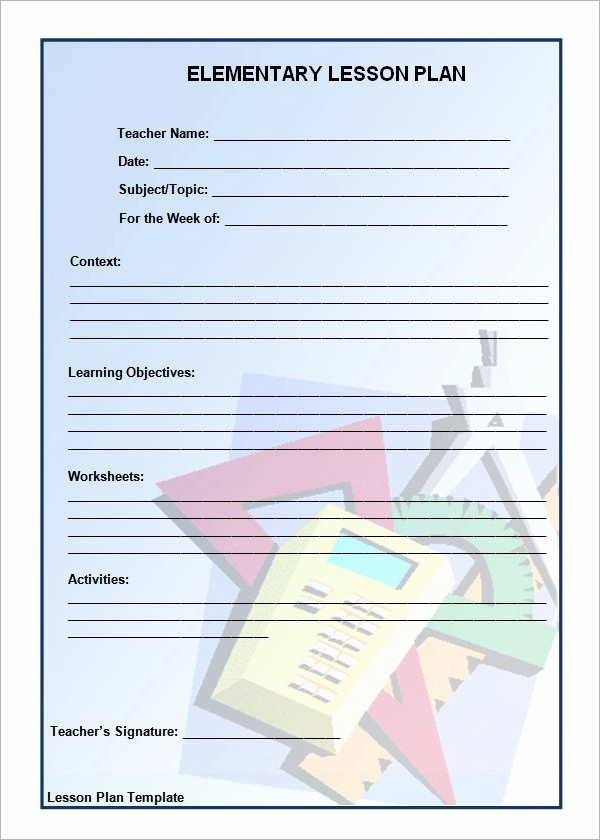 Elementary Lesson Plan Template Word Lovely 12 Sample Unit Plan Templates to Download for Free