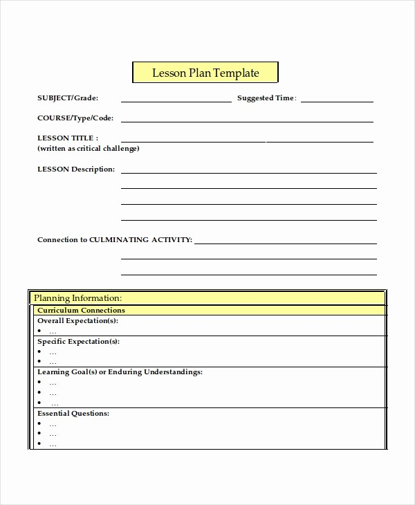 Elementary Lesson Plan Template Word Lovely Middle School Lesson Plan Template Word Education World