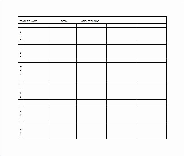 Elementary Lesson Plan Template Word New Editable Lesson Plan Template Word Weekly for Preschool