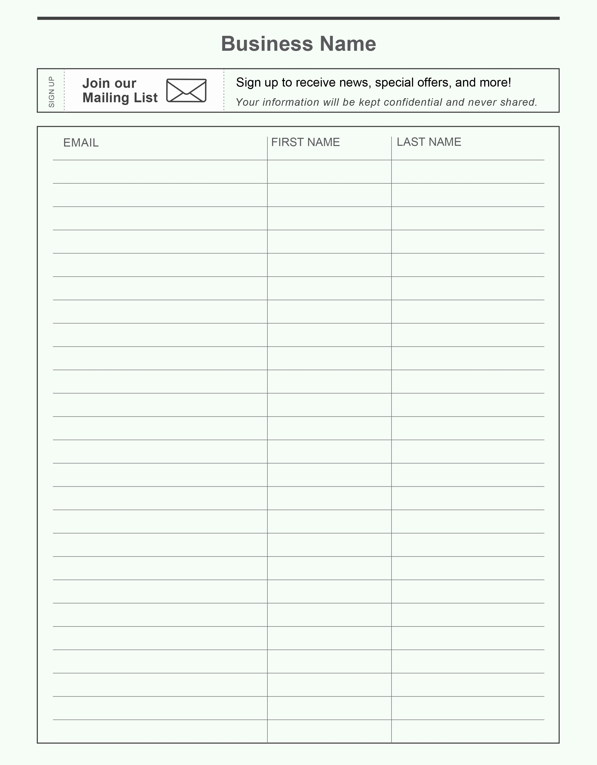name and email sign up sheet