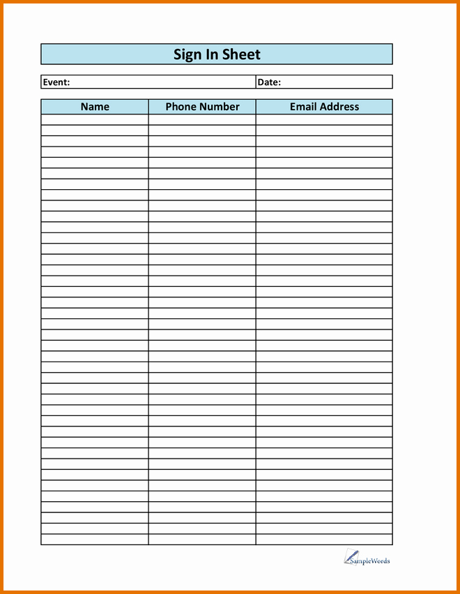 Email Sign In Sheet Template Best Of 6 Printable Sign In Sheetreference Letters Words