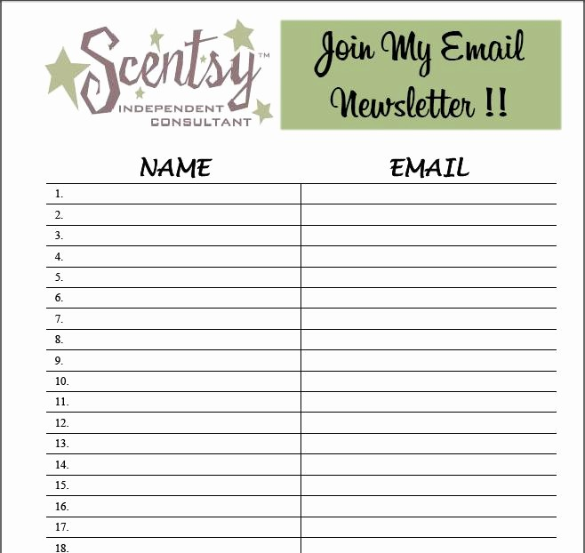 Email Sign In Sheet Template Best Of 9 Best S Of Email Sign Up List Template Email List