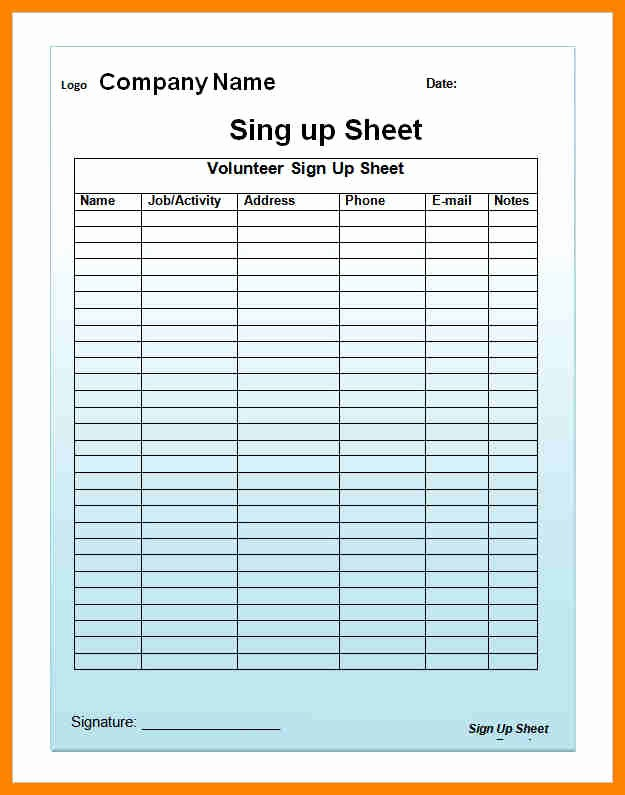 Email Sign In Sheet Template Best Of Email Sign Up Sheet Template