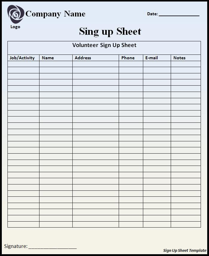 Email Sign In Sheet Template Lovely Sign Up Sheet Template