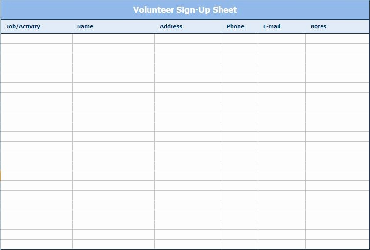Email Sign In Sheet Template New Email Sign Up Sheet