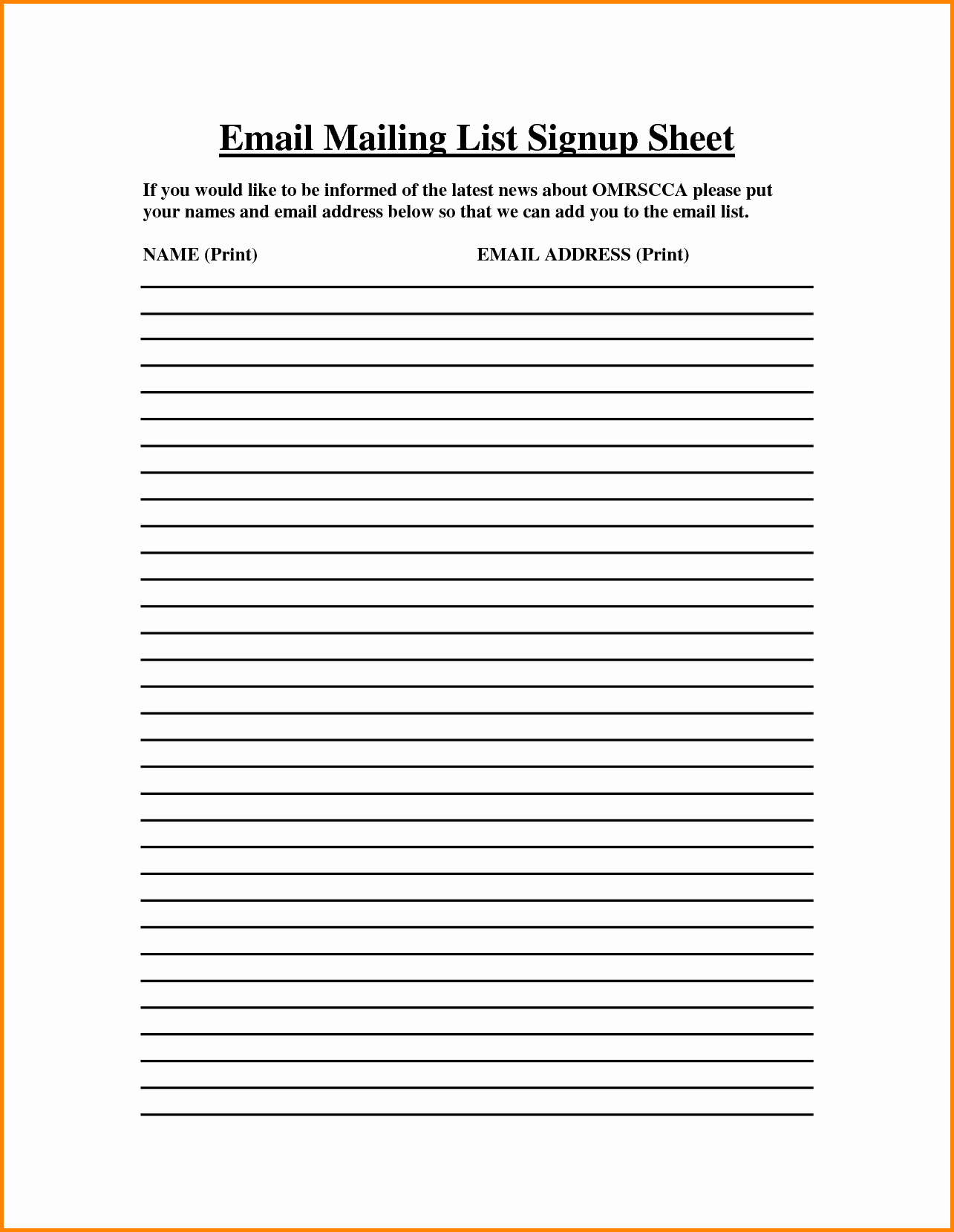 Email Sign In Sheet Template Unique Email Sign Up Sheet Template Bamboodownunder