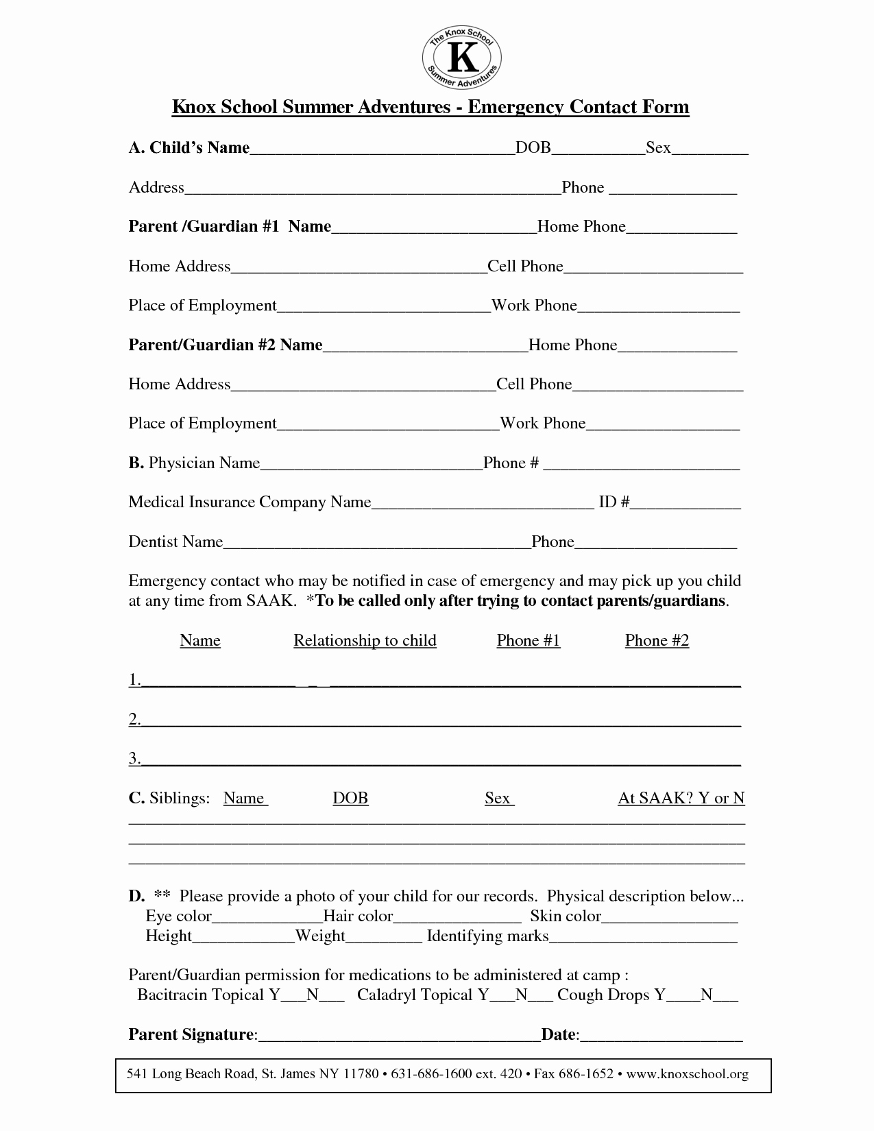 Emergency Contact form for Children Awesome 8 Best Of Printable Contact form Template