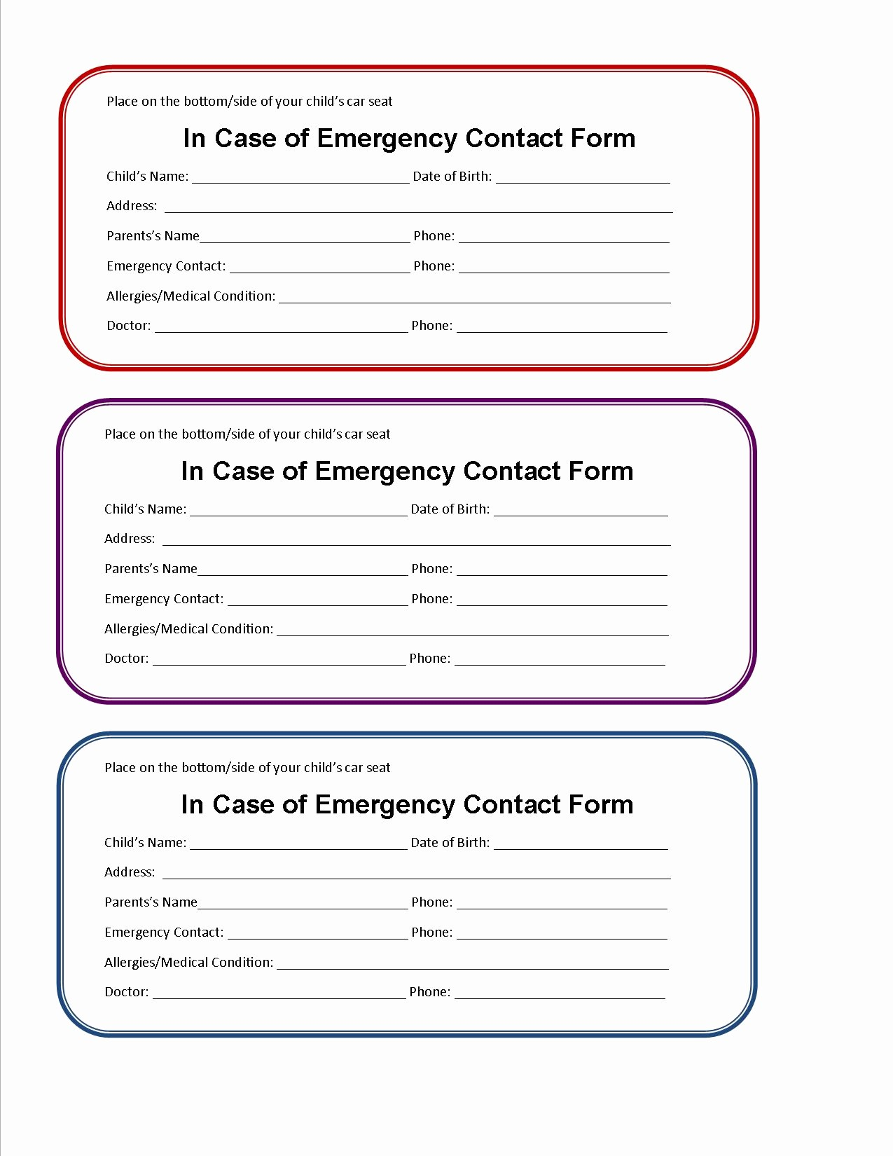 Emergency Contact form for Children Awesome form Child Care Emergency Contact form
