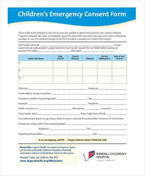 Emergency Contact form for Children Beautiful 19 Medical Consent form In Pdf