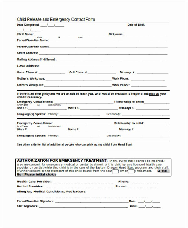 emergency contact form example