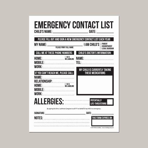 Emergency Contact form for Children Beautiful Emergency Contact form for Nanny Babysitter or Daycare