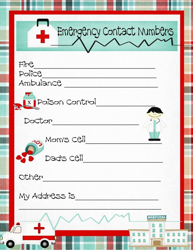 Emergency Contact form for Children Best Of Emergency Numbers Printable