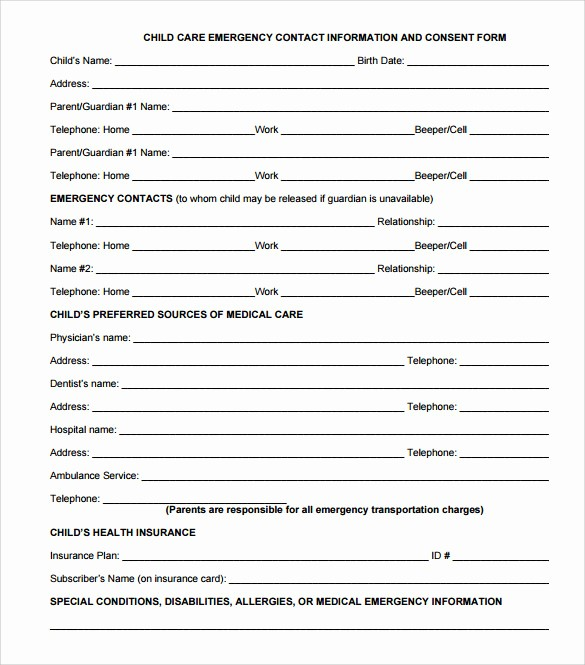 Emergency Contact form for Children Elegant 12 Sample Emergency Contact forms to Download