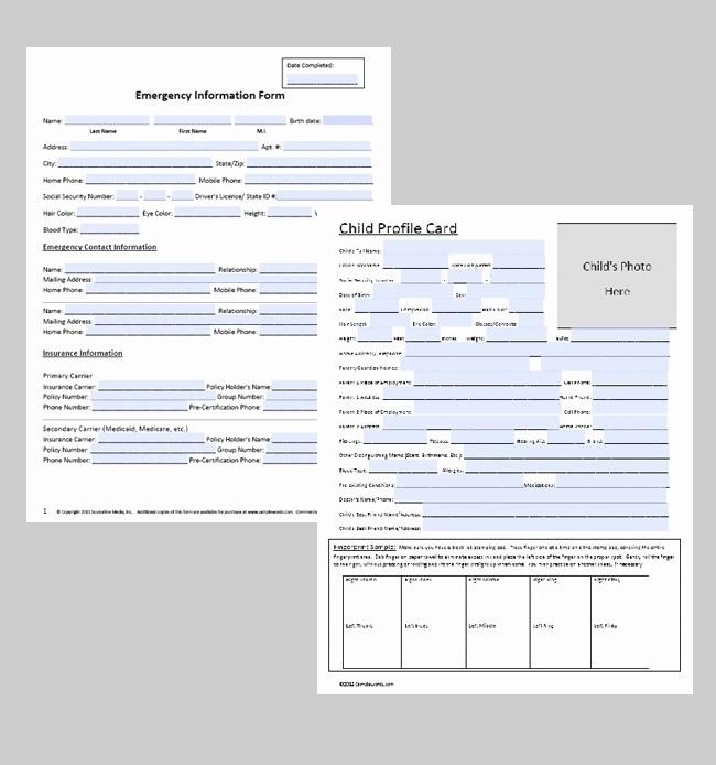 Emergency Contact form for Children Elegant Emergency Contact form Premium
