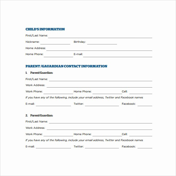 Emergency Contact form for Children Fresh 12 Sample Emergency Contact forms to Download