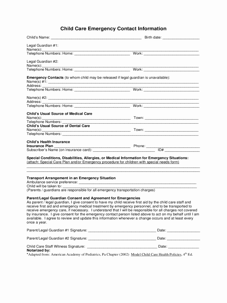 Emergency Contact form for Children Fresh 2019 Child Care Emergency Contact form Fillable
