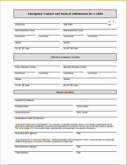 Emergency Contact form for Children Fresh Child Emergency Contact and Medical Information Sheet