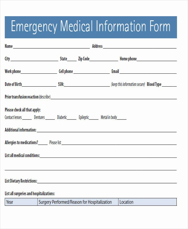 Emergency Contact form for Children Inspirational Emergency Contact form Template for Child
