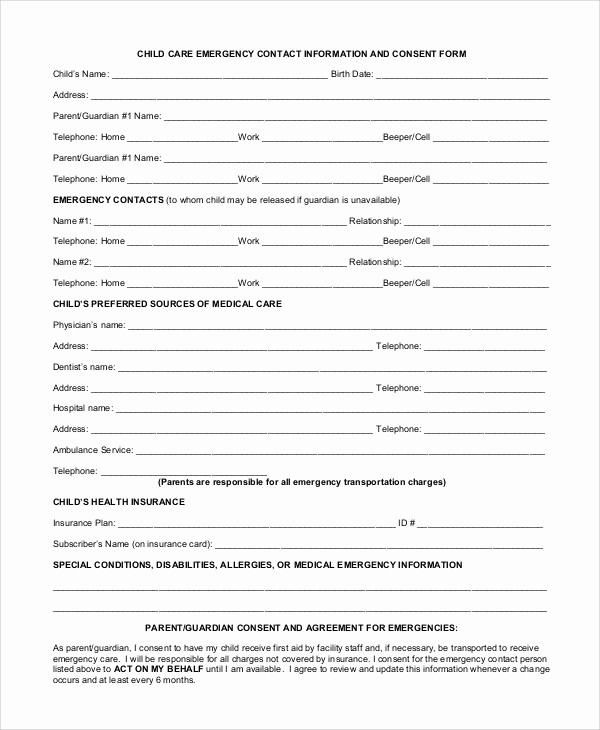 Emergency Contact form for Children Lovely 10 Sample Daycare forms