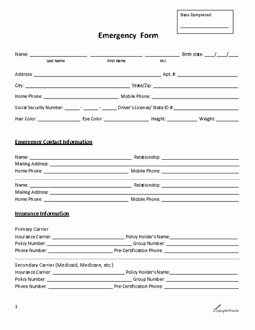 Emergency Contact form for Children Lovely 8 Best Of Free Printable Emergency Contact form