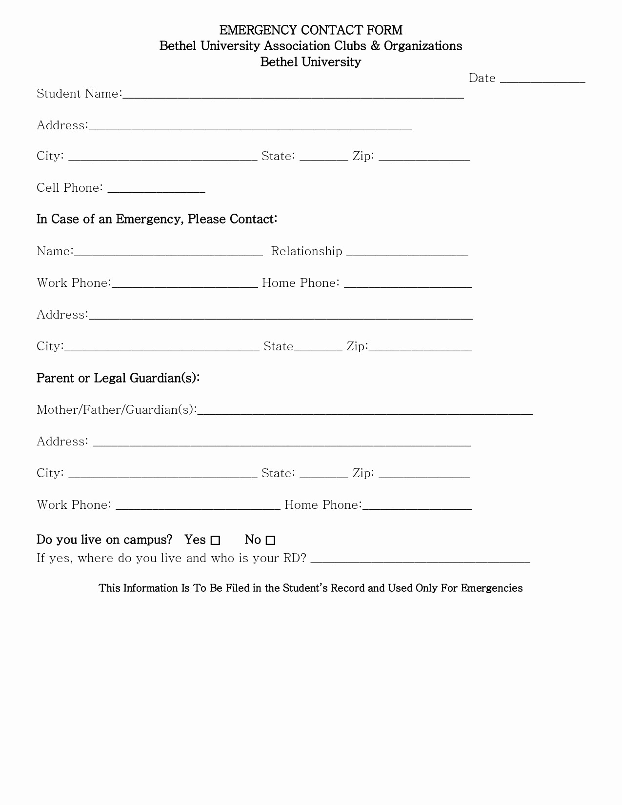 Emergency Contact form for Children Lovely Printable 2290 form Emergency Contact form Template for