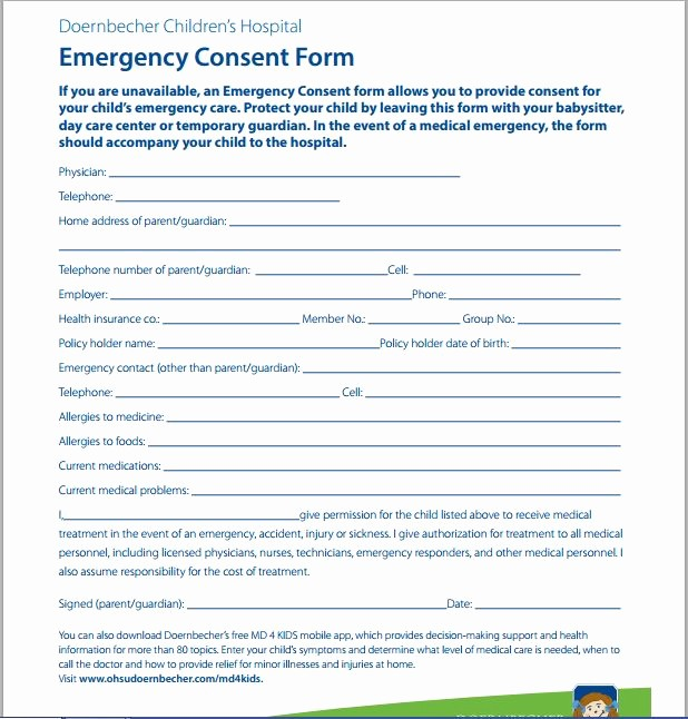 Emergency Contact form for Children Lovely Sample Medical Consent form