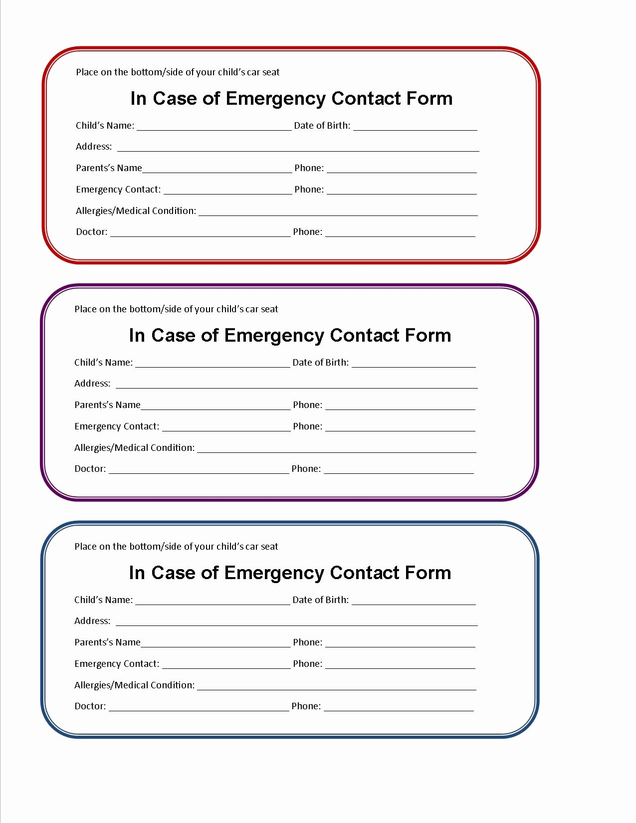 Emergency Contact form for Children Luxury Printable Emergency Card Template