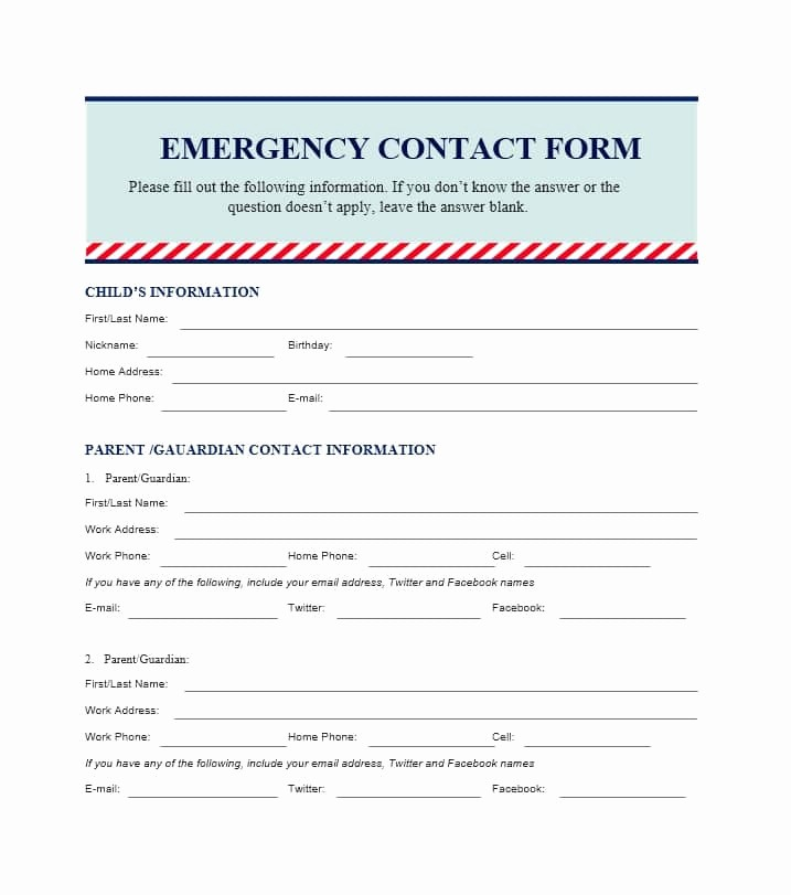 Emergency Contact form for Children Unique Children Emergency Contact form Seatle Davidjoel