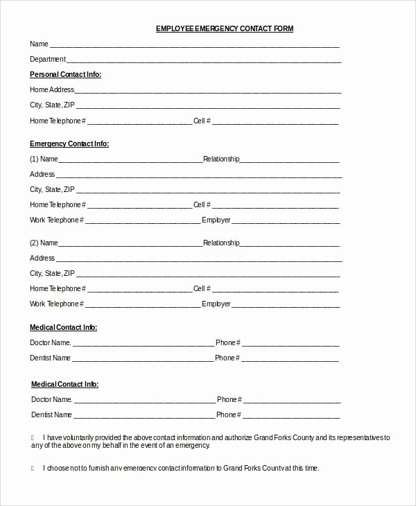 Emergency Contact form Template Free Awesome 8 Sample Emergency Contact forms – Pdf Doc